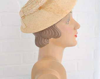 1950s Cream Straw and Lace Hat