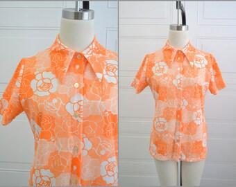 1970s Orange Floral Shirt