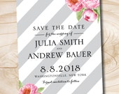 Watercolor Floral Peony Grey Stripe printable save the date, digital file