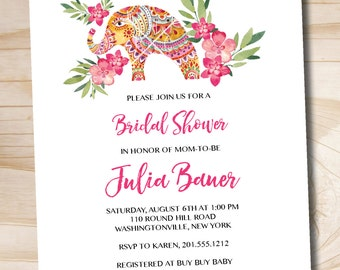 Boho Indian Floral Bridal Shower Invitation  - Printable digital file or printed invitations