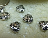 Tibetan Silver Swirly Heart Beads Large and Small