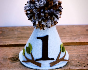 Boys First Birthday Hat, Birthday Hat,Rustic Party Hat,First Birthday Hat, Woodland Birthday Hat, Felt Party Hat,Party Hat:  Rustic