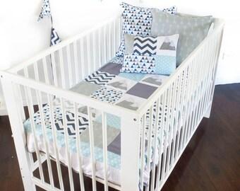 Baby Boy Crib 4 pc set - mountain , baby boy blanket, patchwork quilt, blue baby blanket, mountain quilt