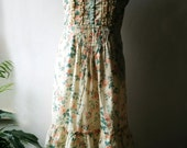 Vintage bohemian boho floral cotton sundress maxi dress with spaghetti straps, ruffles and lace. Size M  EU 38-40
