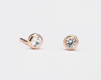 Round Tiny White Zirconia Stud Earrings, Sterling Silver & Gold Plated, Gemstone Post Earrings, Minimalist Jewelry, Hand Made, Gift, STD075W
