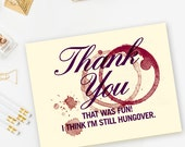 Burgundy & Cream Bachelorette Party, Engagement Party, Wine Thank You Cards - Pack