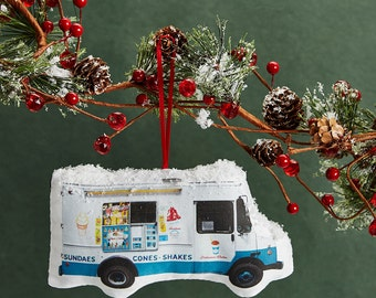 Ice Cream Truck Ornament - Mini Stuffed Pillow - Holiday Decoration - NYC Souvenir - Hanging Cushion