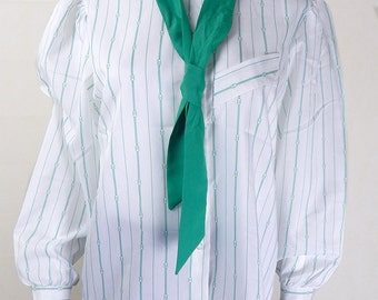 Original Vintage 1980s Blouse with Tie UK Size 14/16