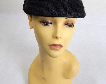 Original Vintage 1940s Black Woven Calot Hat