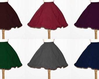 A-LINE SKIRT with ruffle | simple full skirt burgundy red dark green navy blue black white lolita steampunk victorian goth rockabilly party