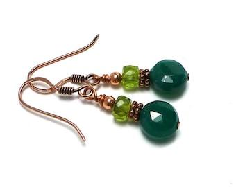Green Agate Peridot Earrings, Emerald Green Stone Earrings, Copper Earrings, Dangle Earrings