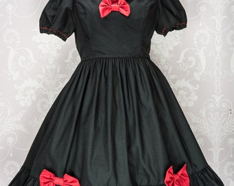 """Made to Measure """"Little Dark Riding Hood"""" Lolita Dress based on the fairy tale Little Red Riding Hood perfect for a casual lolita wardrobe."""