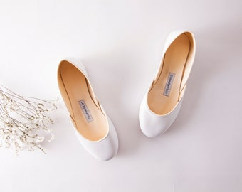 Bridal Ballet Flats | Wedding Flats | Ballerinas Shoes | White Bridal Flats with Beige Trim Line | Audrey White...ready to ship