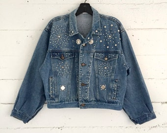 Jean Jacket, 80s 90s studded button front stone wash denim jacket with silver studs, medium m
