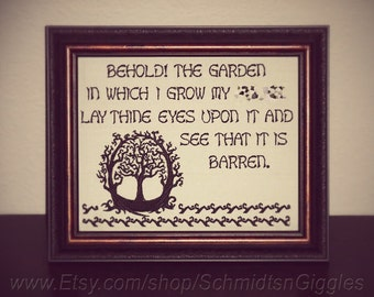 "ADULT LANGUAGE "" Behold My Barren Garden "" 8x10 inch stitched framed sign funny IDGAF signs hilarious gift popular meme"
