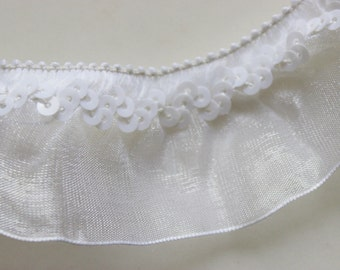 "1 1/4"" Sequin White Organza Ruffle Stretch Ribbon 1 yard / Weddings / Showers / Sewing / Crafting"