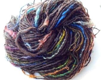 Handspun Merino, Kid Mohair, Silk Yarn, Art Yarn, Natural Colored Merino, Hand Dyed Mohair Locks and Silk, Yarn from Raw Wool,  101 yards