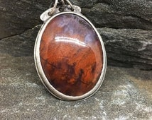"""Flame Agate Necklace, Sterling Silver, Handcrafted, 17"""" long, red, orange, violet, purple, flames, wildfire, handmade in NH, Modern Pendant"""