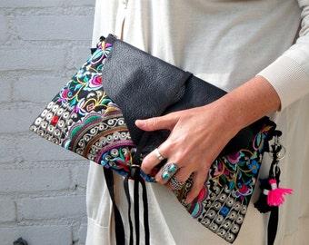 Clutch,handbag, tibet Boho bag, crossbodybag,blackleather,embroidery bag,women,gold,partybag,eveningbag