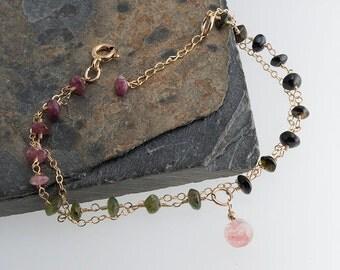 Stone Bracelet, Tourmaline Stone Bracelet, Gemstone Bracelet, Handmade Bracelet, Gold Bracelet, Birthstone Bracelet, Gift for her