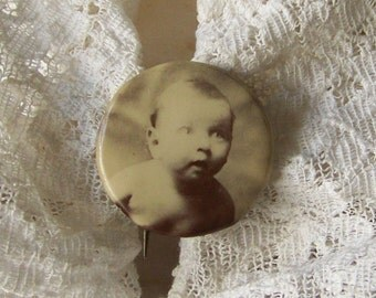 Vintage Celluloid Brooch Photo Pinback Baby Boy Sepia Tone Baby Shower Gift Baby Portrait Photo Pin Jewelry 1930s