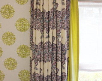 Duralee Maris Drapes 21076 (Shown in Currant-also comes in Rose, Sea Green and Multi)