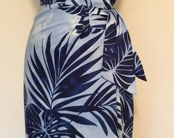 Vintage 1950s inspired blue Hawaiian sarong halter dress S M L VLV rockabilly Viva