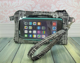 cell phone wristlet wallet, ready to ship, smartphone wristlet, Touch Screen Wristlet, iphone 6s wristlet, iphone wallet, black, grey