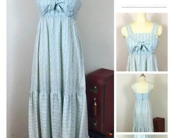 Vintage 70's Powder Blue Rose Print Calico Cotton Dress/ Vintage Hippie Maxi Dress/ Ruffled Sundress Garden Tea Maxi Dress, Size Medium M/