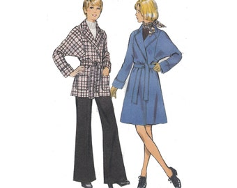 """Women's Sewing Pattern Trench Coat with Dolman Sleeves and Trousers Pants UNCUT 70s Size 10 Bust 32.5"""" (82 cm) Style 4023"""