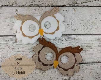 Owl felt mask, woodland creature mask, children's mask