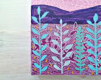 Botanical art, modern landscape, mixed media canvas, landscape art, pink painting, rose quartz wall art canvas, small paintings colorful art