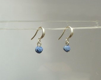 Azurite Natural Raw Crystal Ball Earrings in Recycled Silver