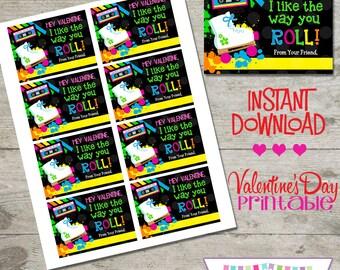 Valentine Skating- Printable Valentine's Day Cards - INSTANT DOWNLOAD
