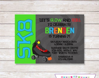 ROLLER SKATING NEON Birthday Party Invitation Boy - Printable