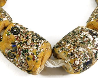 """6 """"End of the Day"""" Venetian Trade Beads Yellow African 97451"""