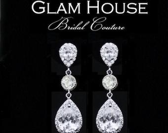 Tear drop Bridal Earrings, Bridal jewelry, Cubic zirconia  Earrings,