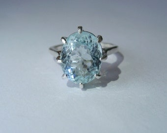 Seafoam Blue Natural Aquamarine In Sterling Silver Ring, 4.52 ct. Size 5.75