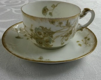 Limoges Tea Cup and Saucer; Rare; 19th Century by Leon Sazerat circa 1850-1891-  164
