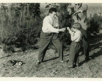 "Vintage Photo ""Little Boxer"" Boxing Snapshot Photo Old Antique Photo Black & White Photograph Found Photo Paper Ephemera Vernacular - 135"