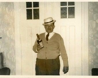 "Vintage Photo ""One Man Party"" Snapshot Photo Old Antique Photo Black & White Photograph Found Photo Paper Ephemera Vernacular - 187"