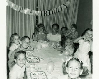 "Vintage Photo ""Birthday Party"" Snapshot Photo Old Antique Photo Black & White Photograph Found Photo Paper Ephemera Vernacular - 154"
