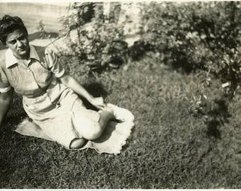 "Vintage Photo ""Sad Sally"" Woman Posing for Camera Snapshot Old Antique Photo Black & White Photograph Found Paper Ephemera Vernacular - 199"