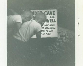 "Vintage Photo ""Young Texas Cave Explorers"" Boys Sign Snapshot Antique Photo Black & White Photograph Found Paper Ephemera Vernacular - 179"