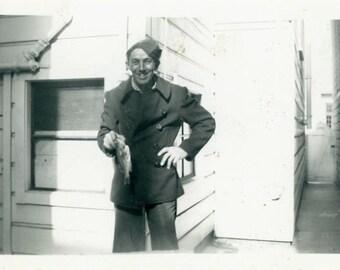 "Vintage Photo ""Sam's Lackluster Catch"" Men Fisherman Fish Snapshot Photo Old Photo Black & White Photograph Found Photo Paper Ephemera - 36"