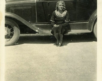 "Vintage Photo ""Ran Out of Gas"" Snapshot Antique Photo Black & White Photograph Found Paper Ephemera Vernacular - 171"