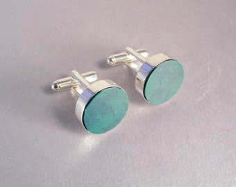 Emerald Green Cufflinks SHIPS IMMEDIATELY Handmade Green Round Cuff Links
