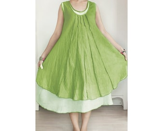 SALE 20% Off, Cotton Sleeveless Double Layer Summer Dress, Maternity Dress in Green