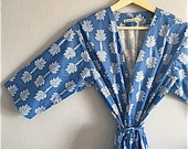 Blue Kimono Robe. Kimono. Blue Dressing Gown. Bridesmaid Robes. Dreamy Summer Days. Knee and Mid CalfLength. Small thru Plus Size Kimono.