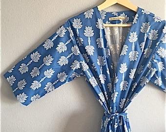 Blue Kimono Robe. Kimono. Blue Dressing Gown. Bridesmaid Robes. Dreamy Summer Days. Knee Length. Small thru Plus Size Kimono.